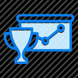 analytics, diagram, graph, trophy icon