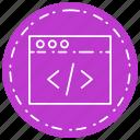 browser, code, script, web page icon