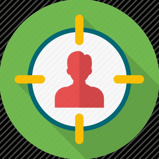 focus, optimization, seo, shoot, shooting, target, target customer icon