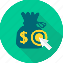area, finance, money, money bag, pointer, revenue, target icon