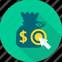 money, money bag, area, finance, pointer, revenue, target icon