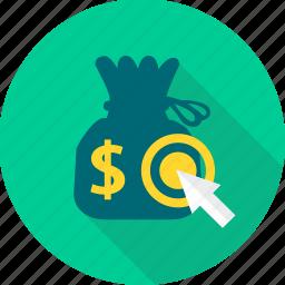 area, finance, money, money bag, pointer, revenue, target icon