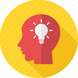 brain, business, head, idea, lightbulb, mind, thinking icon
