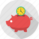 bank, banking, cash, guardar, save, saving, savings, time icon