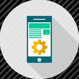 app, configuration, content, management, optimization, settings, smartphone icon