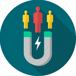 attract, client, customer, customers, magnet, magnetism icon