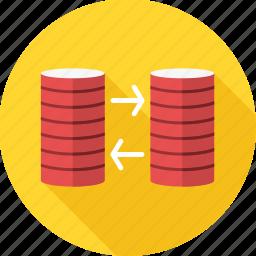 data, database, disc, harddisk, mysql, storage, transfer icon