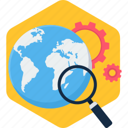 glass, global, magnifier, magnifying, search, settings, zoom icon