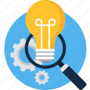 bulb, zoom, magnifier, search, view, idea, find