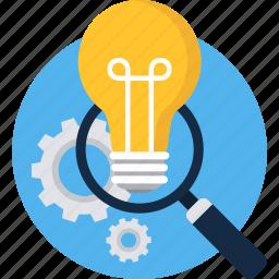 bulb, find, idea, magnifier, search, view, zoom icon