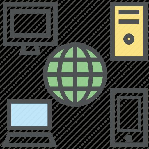 desktop, globe, laptop, monitor, network, server, sharing icon