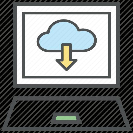 cloud arrow, cloud computing, cloud netting, cloud network, cloud sharing, downloading, laptop screen icon