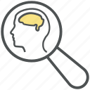 brain, creative search, find brain, head, magnifying, mind, search, zoom icon