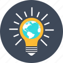 bulb, earth, globe, idea, seo, solution, world icon