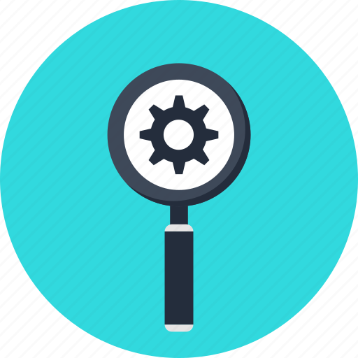 active, cog, cogwheel, magnifier, magnifying glass, search, settings icon