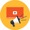 advertising, business, management, marketing, megaphone, video, website icon
