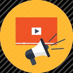 advertising, business, management, marketing, megaphone, video, website icon