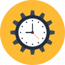 clock, cogwheel, deadline, management, optimization, seo, time icon