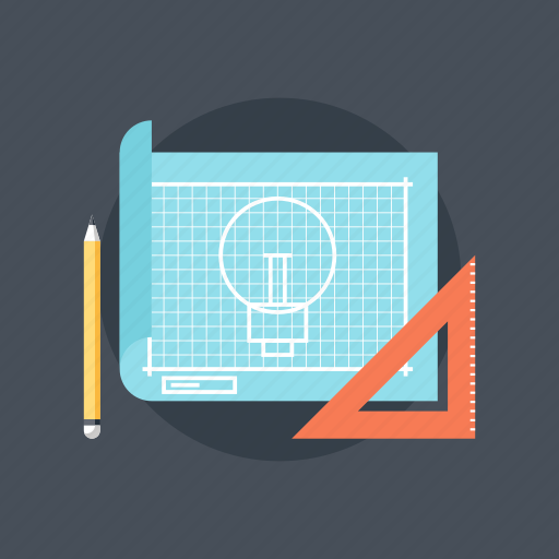 art, blueprint, bulb, concept, creative, design, development, draw, drawing, graphic, idea, illustration, light, pen, pencil, product, project, prototyping, ruler, sketching, tool icon