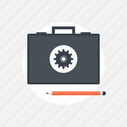 administration, bag, briefcase, business, content, data, database, document, file, finance, information, management, office, optimization, options, portfolio, project, settings, suitcase, system, work icon