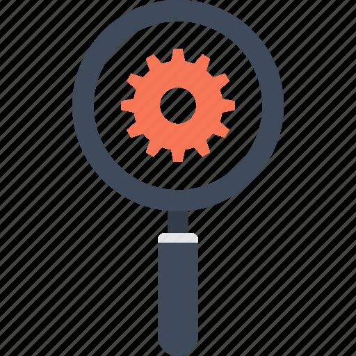 cogwheel, explore, magnifier, optimization, search, seo, view icon