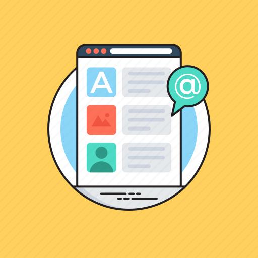 blog, blogging, online journal, weblog, website publication icon