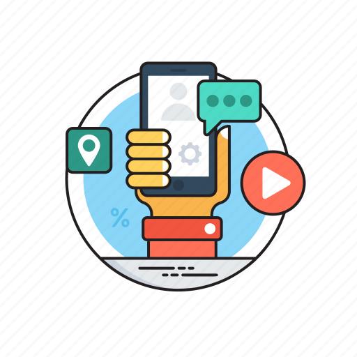 app store optimization, app-based marketing, marketing activity, mobile marketing, online marketing icon