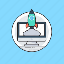 new website, project startup, rocket startup, startup and new business, website launch icon