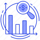 data analytics, market analysis, market research, market trends, statistical research icon