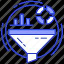analytics, data analysis, data filter, filtration, marketing funnel icon