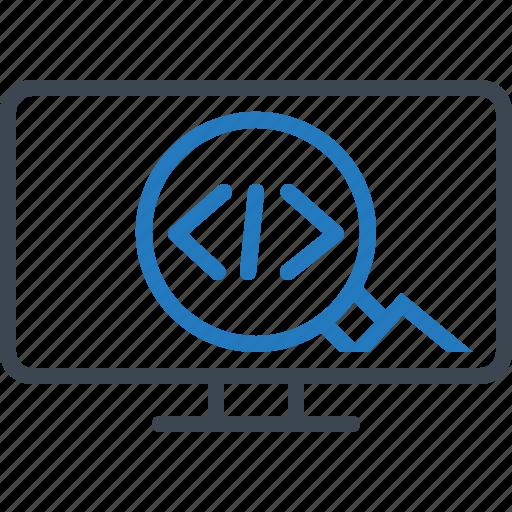 code, optimization, seo, settings icon