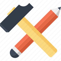build, construct, design, development, hammer, pencil, tool icon