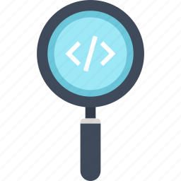 application, coding, magnifier, optimization, program, search, software icon