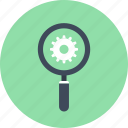 cogwheel, explore, find, magnifier, optimization, search, seo