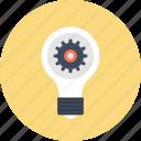development, concept, light, cogwheel, idea, lamp, bulb