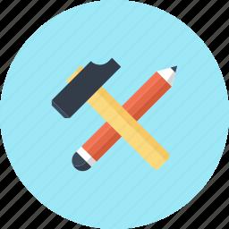 build, design, development, hammer, instrument, pencil, tool icon