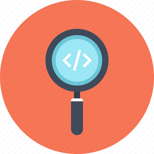 code, coding, magnifier, optimization, program, search, software icon