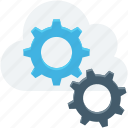 cloud computing, cloud repair service, cloud settings, cogs, icloud icon