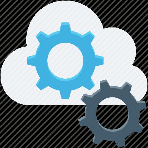 cloud computing, cloud repair service, cloud settings, cogs, icloud icon