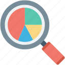 infographics, pie chart, pie graph, search chart, search graph icon