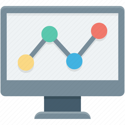 analytics, infographics, monitor, online graph, seo graph icon