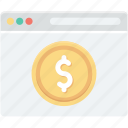 dollar, ecommerce, online business, online job, online work, ppc icon