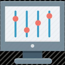configuration, lcd, monitor settings, optimization, web development icon