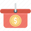 dollar, e commerce, online store, shopping, shopping basket icon