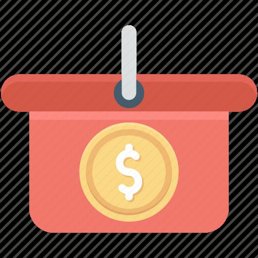 dollar, e commerce, online store, shopping, shopping basket icon