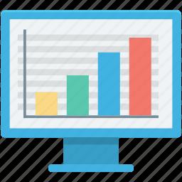 bar graph, business graph, monitor, seo graph, statistics icon