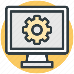 computer screen, hardware service, screen gear, seo, technical support icon