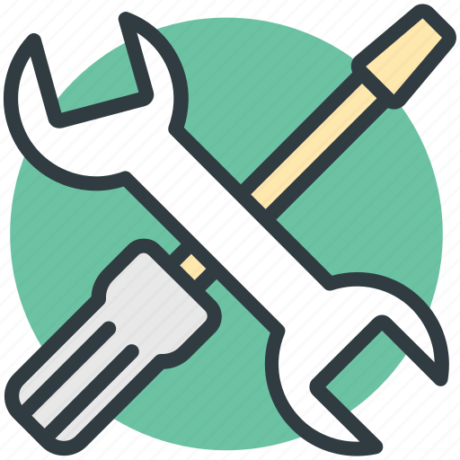 garage tools, mechanic, repair tools, screwdriver, wrench icon