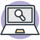 analyzing, find concept, laptop, magnifying glass, searching icon