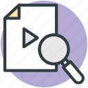 magnifier, searching, social media, video file, video search icon